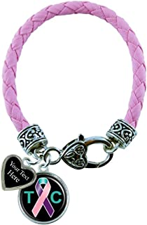 Holly Road Thyroid Cancer Pink Leather Bracelet Jewelry Choose Your Text
