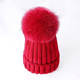 213c88216eec2 Women Winter Pompoms Beanie Hat Warm Acrylic Knit Hat with Cut Pom pom Ski  Cap for