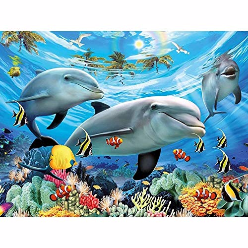 WSLMR 5D DIY Diamond Painting Cross Stitch Mosaic Swimming Dolphins Diamond Embroidery Needlework Patter Rhinestone Home Decor (12x16inch/30x40cm) Without Frame