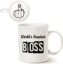 MAUAG Funny Best Boss Office Coffee Mug for Bosses Day, World's Greatest Boss Unique Present Idea for Boss Manager Cup Whi...