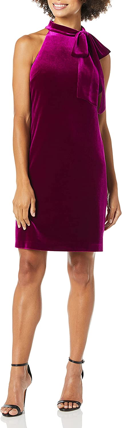 Max 41% OFF Vince Camuto Women's Challenge the lowest price Velvet Shift Dress with Bow Neck