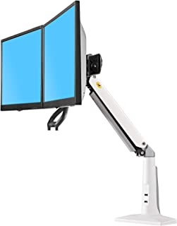 """NB North Bayou Ergonomics Interactive Dual Desk Monitor Mount Fits 22""""-27"""" Double Screens with Load 13.2 to 26.4 lbs(White) (Renewed)"""