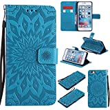 A-slim iPhone 6 / 6S Wallet Case, (TM) Sun Pattern Embossed PU Leather Magnetic Flip Cover Card Holders & Hand Strap Wallet Purse Case for iPhone 6 / 6S [4.7 Inch] - Blue