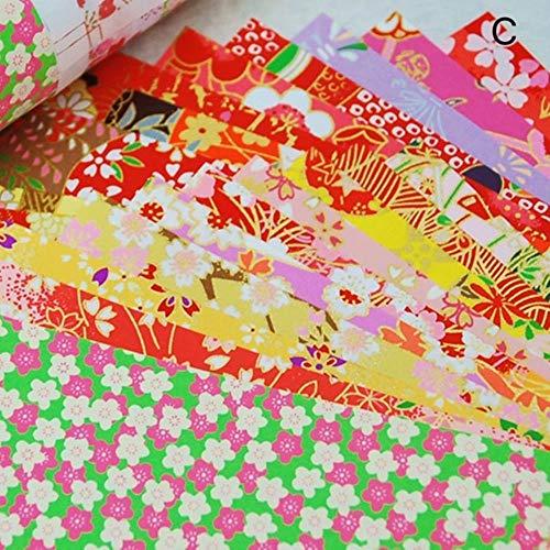 20 stks/pak Japanse stijl Gouden Lijnen Bloem Papier Kraan Decoratieve Milieu Materia Diy Kids Origami Papier Plakboek Decor, stijl C 10.5x10.5 cm, China