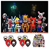 Five Nights at Freddys Birthday Party Decorations Backdrop, Party Supplies for Kids Photo Background with 8pcs Ballons and 50 pcs Stickers