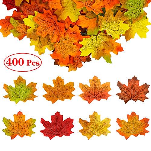 FEIGO 400 Stück Ahornblätter, Künstliche Ahornblatt Girlande 8 Farben Herbstlaub Herbst Blätter Deko für Partei, Hochzeit, Halloween, Weihnachtszeiten Herbstdeko (8 x 7cm)