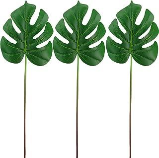 Supla 3 Pcs Faux Palm Leaf Picks Green Palm Leaf Decorations Jungle Safari Leaves for Jungle Tropical Hawaiian Luau Beach Tiki Aloha Party Outdoor Indoor Birthday Greenery Table Decor