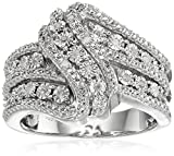 Sterling Silver Diamond 3 Row Twist Fashion Band Ring (1/10 cttw), Size 6