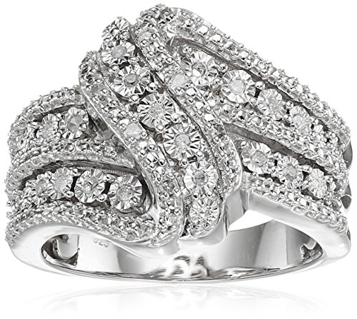 Amazon Collection Sterling Silver Diamond 3 Row Twist Fashion Band Ring (1/10 cttw), Size 8