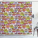 ABAKUHAUS Eule Duschvorhang, Kunstvolle Eule Polka Dots, Waschbar & Leicht zu pflegen mit 12 Haken Hochwertiger Druck Farbfest Langhaltig, 175 x 200 cm, Multi