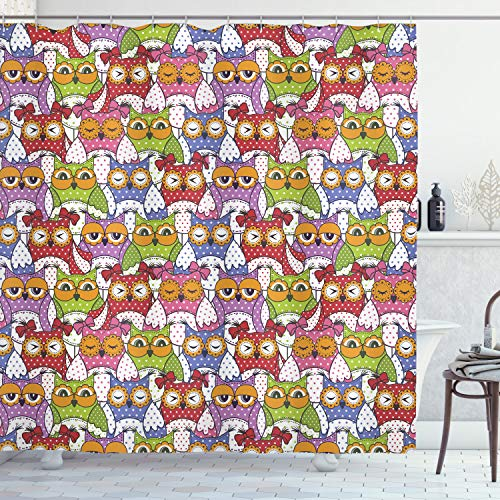 ABAKUHAUS Búho Cortina de Baño, Adornado búho de los Lunares, Material Resistente al Agua Durable Estampa Digital, 175 x 200 cm, Multicolor