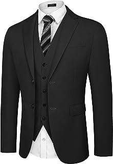 COOFANDY Men's Slim Fit 2 Piece Suit Two Button Solid Business Wedding Prom Tuxedo Blazer Vest Set