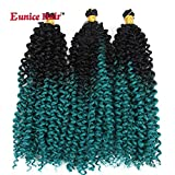 6 Packs 14 Inch Eunice Water Deep Crochet Braids Hair Extension Ombre Green Synthetic Spring Twist Kinky Curly Braiding 24 Strands/Pack (W-8)