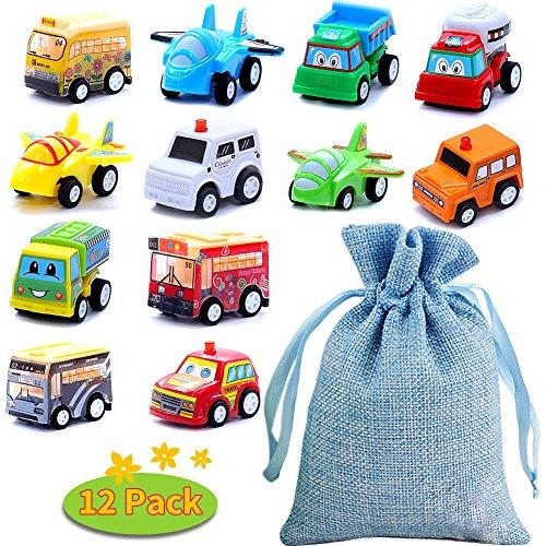 BBLIKE Spielzeugautos, 12 Stück Mini Auto zurückziehen Spielzeug Auto mit Aufbewahrungstasche, Pull Back Autos Spielzeug Autos für Kleinkinder Spielzeug Autos ab 3 4 5 Jahren