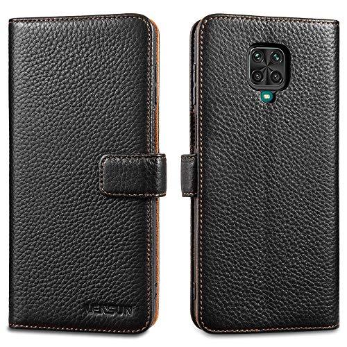 LENSUN Echtleder Hülle für Xiaomi Redmi Note 9 Pro, Xiaomi Redmi Note 9S Leder Handyhülle Handytasche Lederhülle für Xiaomi Redmi Note 9 Pro/Note 9S – Schwarz(MN9P-LG-BK)