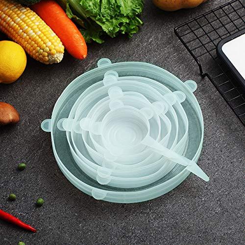 Food Silicone Cover Universal Silicone Lids for Cookware Bowl Pot Reusable Stretch Lids Kitchen Accessories 12 Pcs/2set Vert 6 Pcs 1 Ensemble