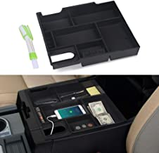 VANJING Center Console Organizer Compatible for 2014-2019 Toyota Tundra Accessories ABS Black Materials Tray Armrest Secondary Storage Box with A Cleaner Brush