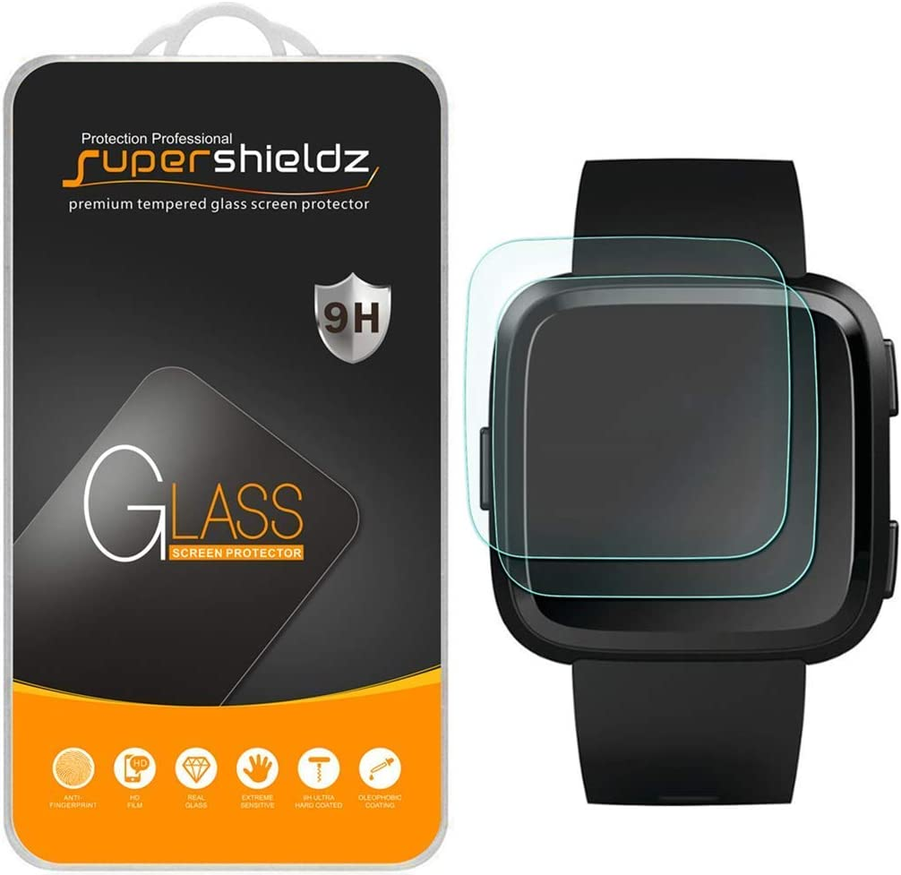 (2 Pack) Supershieldz Designed for Fitbit Versa and Versa Lite Edition Tempered Glass Screen Protector, 0.33mm, Anti Scratch, Bubble Free