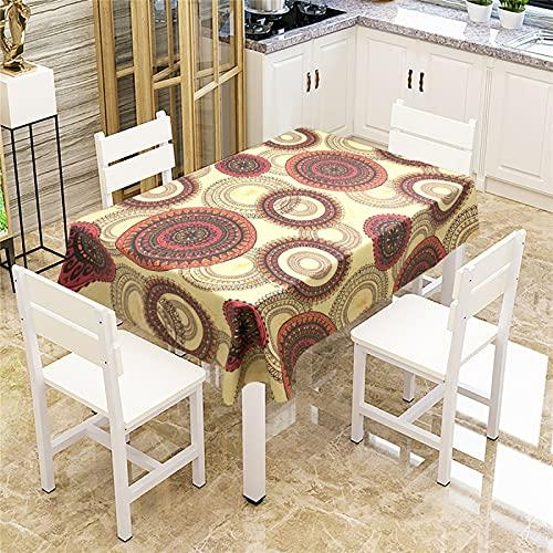 SUNFDD Mesa De Comedor, Oficina, Hotel Familiar, Tela Impermeable Y Antiincrustante, Nuevo Mantel Mandala Resistente A...