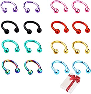 Juland 8 Coppie Kit per Piercing del Corpo dell'asta di C Acciaio Inossidabile Belly Button, Tongue, Sopracciglia, Capezzo...