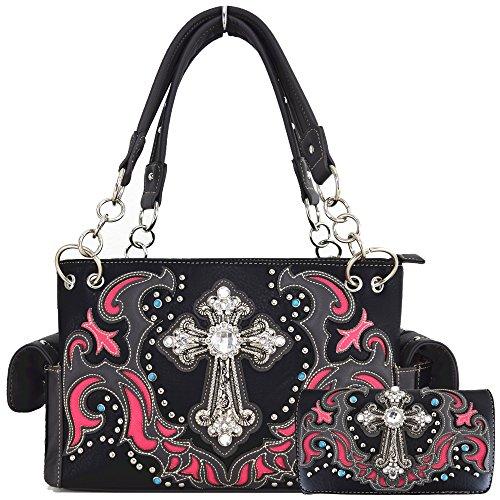 Western Style Rhinestone Cross Stud Concealed Carry Purse Laser Cut Handbag Women Shoulder Bag Wallet Set (Black/Fuchsia Set)