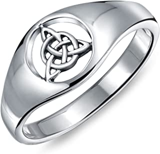 Friendship Viking Celtic Trinity Knot Triquetra Ring Signet Ring For Women For Men 925 Sterling Silver