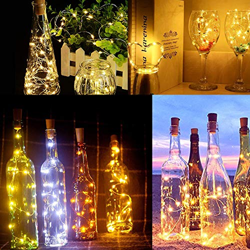 Luz de Botella,12pack 2m 20LEDLuces Para Botellas la Decoracion de LED Para las Luces de la Botella del Cobre de la Secuencia Amistosa Economica de la Luz del Corcho del Partido (2M 20LEDs-12pcs)