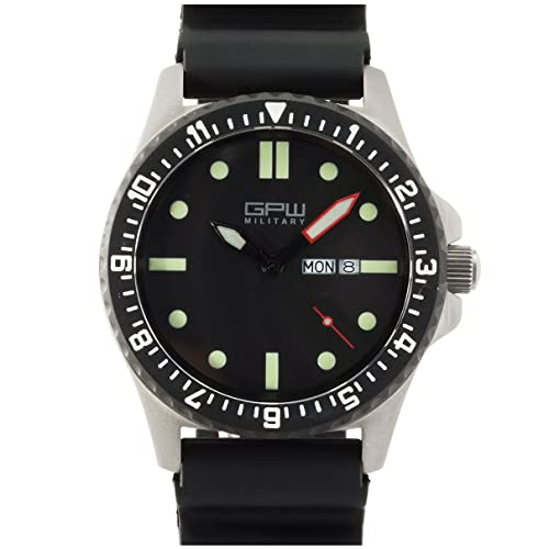 German Military Titanium Watch. GPW Day Date. Black Field Rubber Strap. Sapphire Crystal