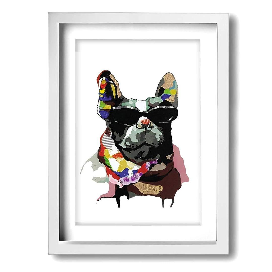 対人私のと遊ぶK-Duck フレンチブルドッグ 絵画 フレーム装飾画 キャンバスアート アートパネル 壁画 壁掛け 絵 モダンアート 版画 壁飾り ポスター A4
