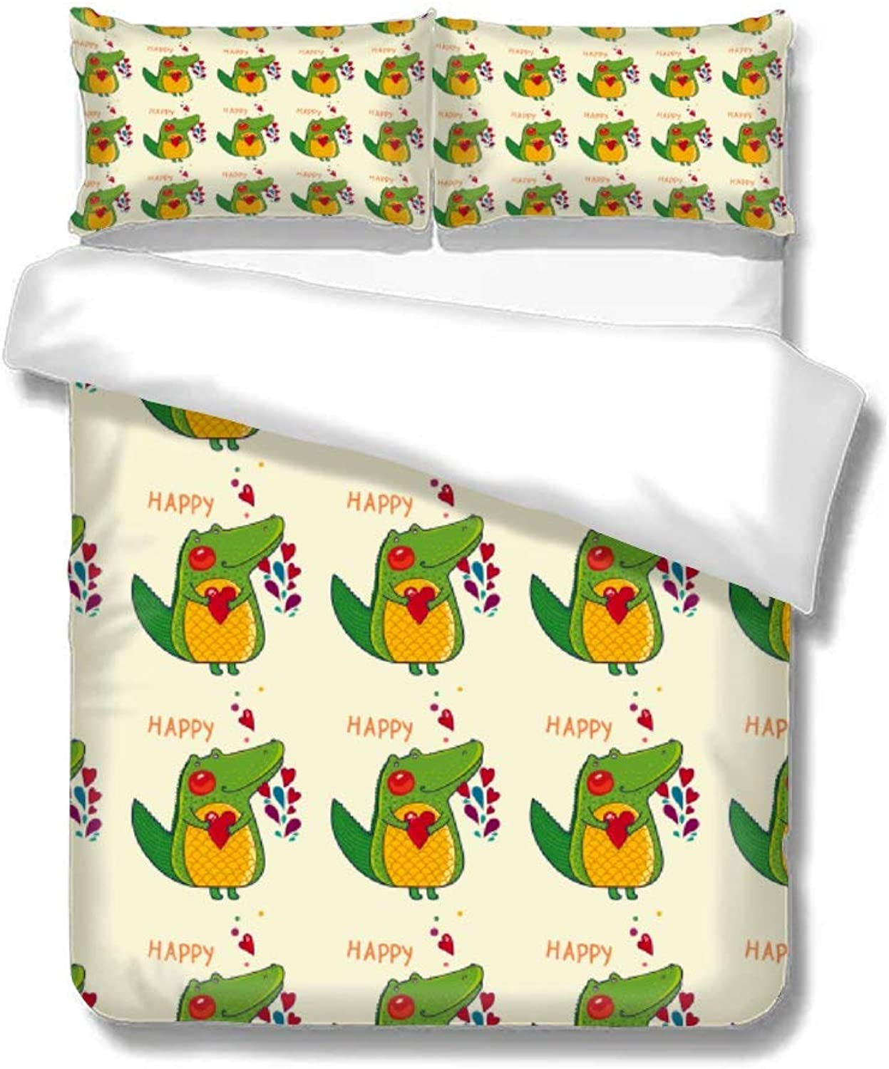 Home Bedding Duvet Cover Set Bed Sheets Set Set of Three On The Bed Crocodile Happy Animal Heart Soft Comfortable Breathable Twin Size