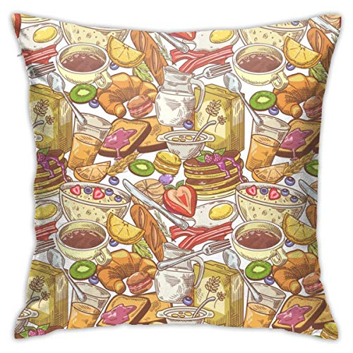 HXJIULI Hand Drawn Breakfast Bakery Pillow Covers Throw Pillow Cases for Fall Decor Decorations Decorative Pillow Cover