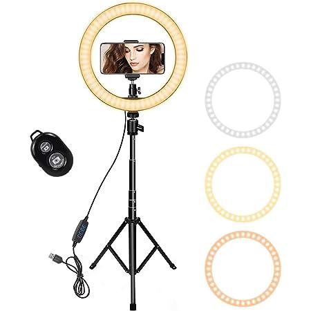 Alfun Ring Light avec Tr/épied 26cm Anneau de Lumi/ère pour Tiktok Streaming Maquillage Vid/éo