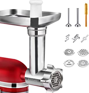 Metal Food Grinder Attachments for KitchenAid Stand Mixers, Durable Meat Grinder Attachment Compatible with All KitchenAid Stand Mixers, includes Two Sausage Stuffer Tubes (Sliver)