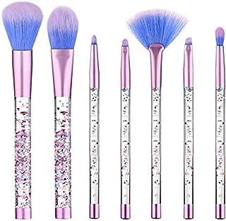 MAYCREATE® Unicorn Makeup Brushes,Glitter Makeup Brushes Liquid Shiny Crystal Sequin Quicksand Synthetic Unicorn Hair Eyeshadow Foundation Cosmetic Acrylic Handle Brush Set with Pouch