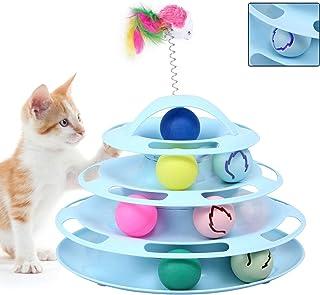 4層 猫おもちゃ ぐるぐるタワー ボール 回転タワー 運動不足 解消(オレンジ) ペット用品 玩具(青)