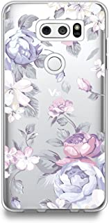 LG V30 / LG V30 Plus/LG V30S ThinQ Case, [Tempered Glass Screen Protector Included] CasesByLorraine Purple Floral Flower Clear Transparent Case Flexible TPU Soft Gel Protective Cover for LG V30(I33)