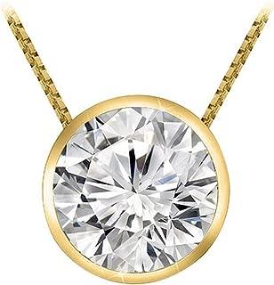 1 Carat Round Diamond Bezel Solitaire Pendant Necklace J Color I2 Clarity w/ 18
