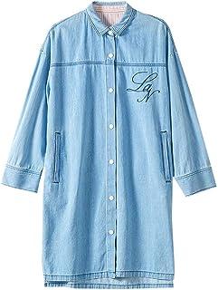 URLAZH Womens Embroidered Denim Long Sleeve Collar Loose Button Down Tunic T-Shirt Dress
