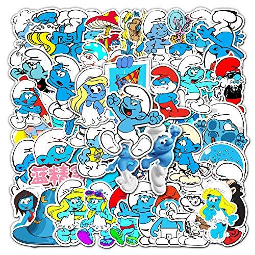 YLGG 52 Stück Schlumpf wasserdichte Graffiti-Aufkleber für Laptops, Skateboards, Koffer, Helme, Handys,Motorräder usw.