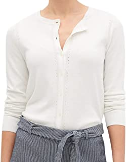 Womens Premium Luxe Cotton Cashmere Blend Cardigan Sweater Off White