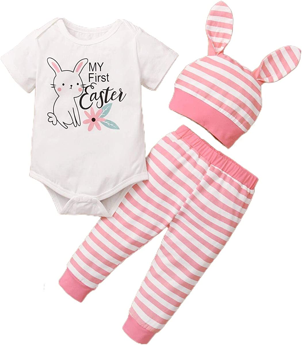 Infant Baby Boy Girl Easter Outfits My First Easter Romper Top + Bunny Pants + Rabbit Ears Hat Summer Clothes 3PCS