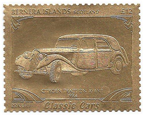 Isole Bernera Scotland : Classic Cars - Citroën Traction Avant 1934 / Oro Folio Stamp - perforato Valore nominale £ 12/1987 / Bernera/MNH