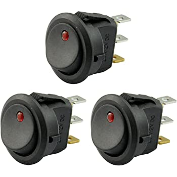 AutoEC New 3pc Car Truck Rocker Toggle LED Switch Red Light On-off Control 12V
