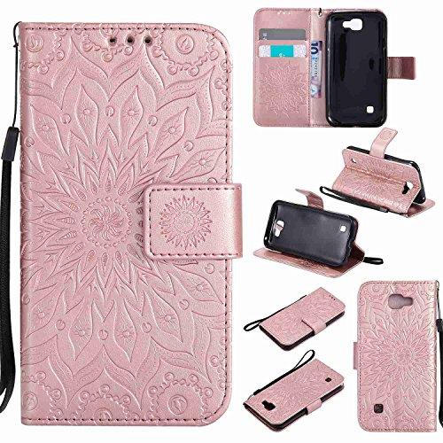 pinlu® PU Leder Tasche Etui Schutzhülle für LG K3 3G K100 (4,5 Zoll) Lederhülle Schale Flip Cover Tasche mit Standfunktion Sonnenblume Muster Hülle (Roségold)