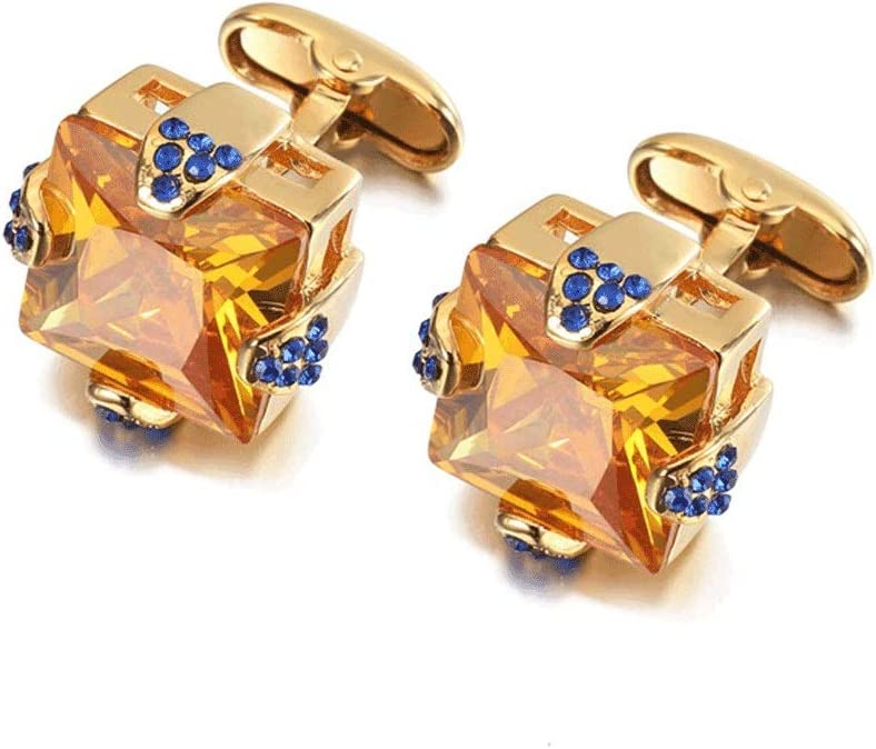 ZZABC Golden Cufflinks Men's Business Banquet Wedding Shirts Jewelry Gifts Top-Grade Crystal Cuff Links