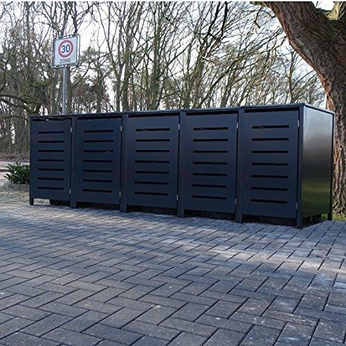 5 Mülltonnenboxen Modell No.6 für 240 Liter Mülltonnen / komplett Anthrazit RAL 7016 / witterungsbeständig durch Pulverbeschichtung / mit Klappdeckel und Fronttür