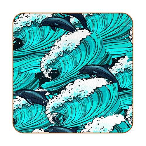 6 posavasos antideslizantes resistentes al calor decorativos para el hogar, posavasos cuadrados para tazas, tazas, vasos, delfín de mar turquesa