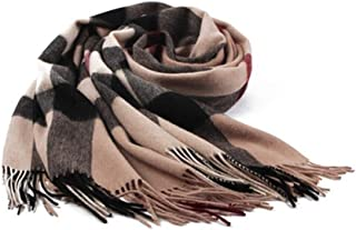 HXSD Wool Scarf, Female Winter Shawl Scarf, Dual-use Scarf, Checkered, Gift Box, Beige, Dark Gray, High-end Fashion, (Color : Beige)