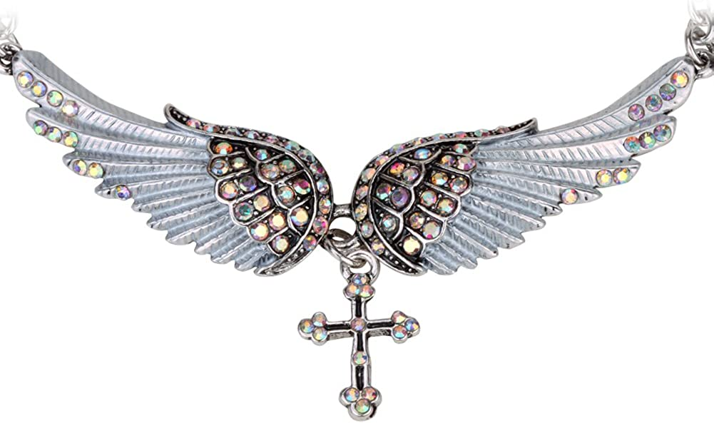 Szxc Jewelry Women's Crystal Guardian Choker Wings P Our Max 52% OFF shop OFFers the best service Cross Angel