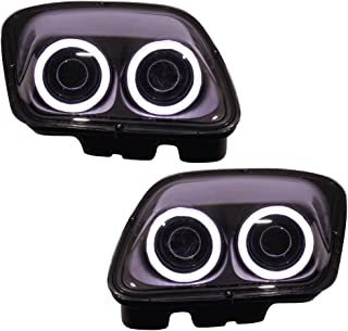 Lights Compatible With 1997-2004 Chevy Corvette C5 | Headlights Projector Lamp Black Dual LED Halo Rims by IKON MOTORSPORTS | 1998 1999 2000 2001 2002 2003